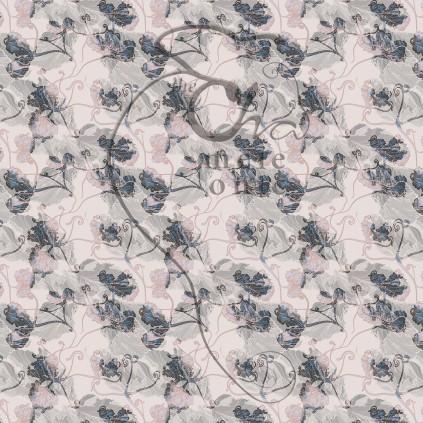 Estampado floral de estética rococó revisado